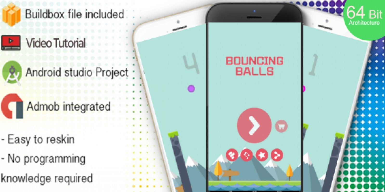 Bouncing Balls Buildbox Template With Admob
