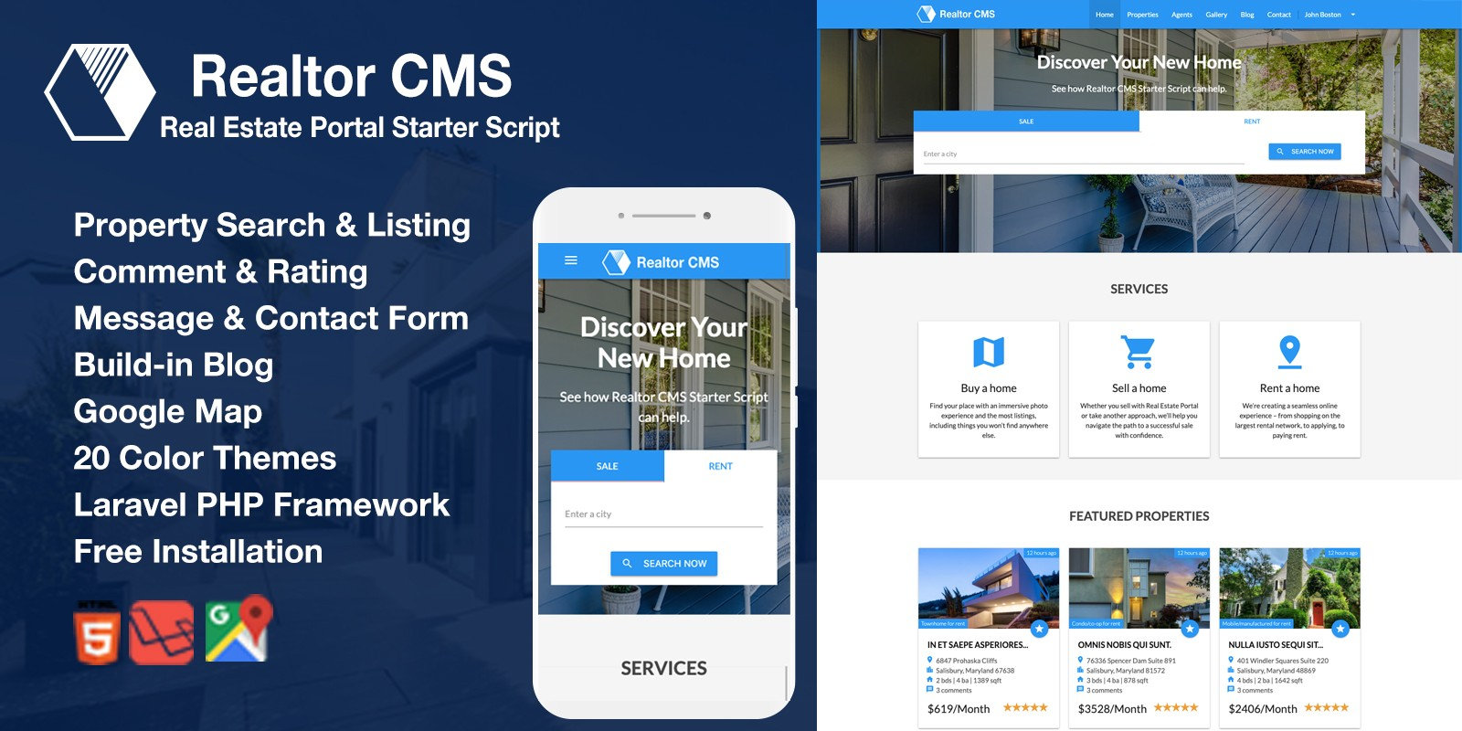 Realtor CMS Real Estate Listing Starter Script