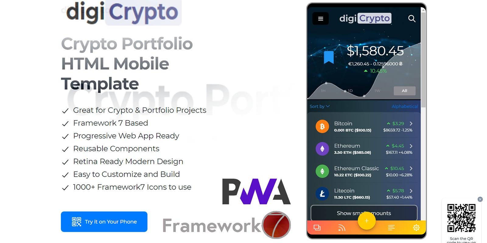 digiCrypto - Crypto Portfolio Mobile Template
