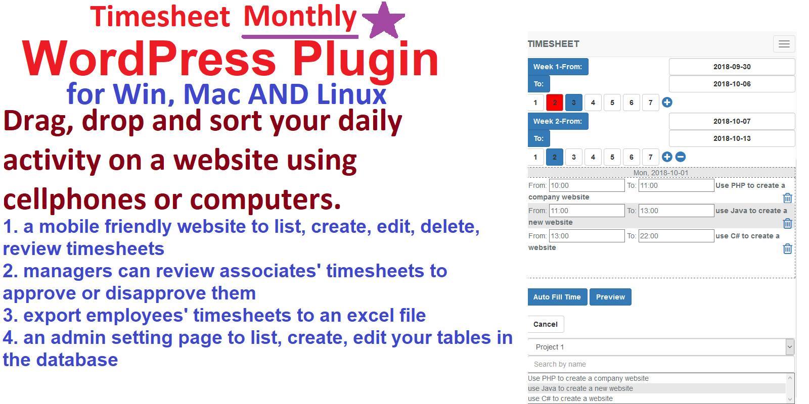 Timesheet Management System WordPress Plugin