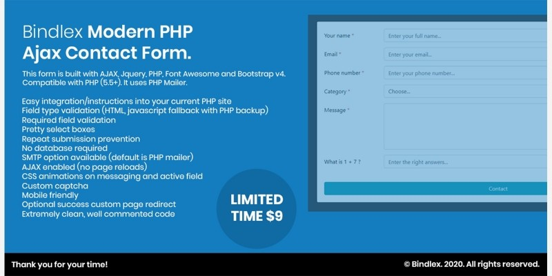 Modern PHP Ajax Contact Form
