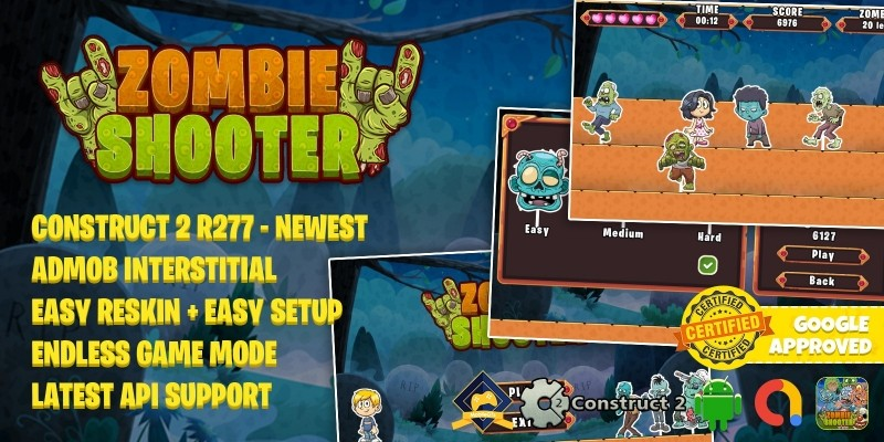 Zombie Shooter - Construct 2 Game Template