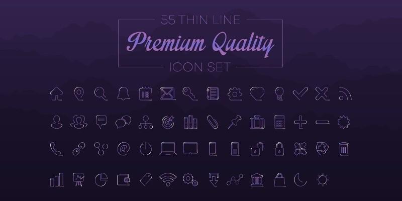 55 Thin Line Premium Quality Icon Set