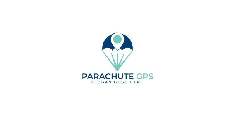 Parachute Vector Logo With GPS Pointer Design