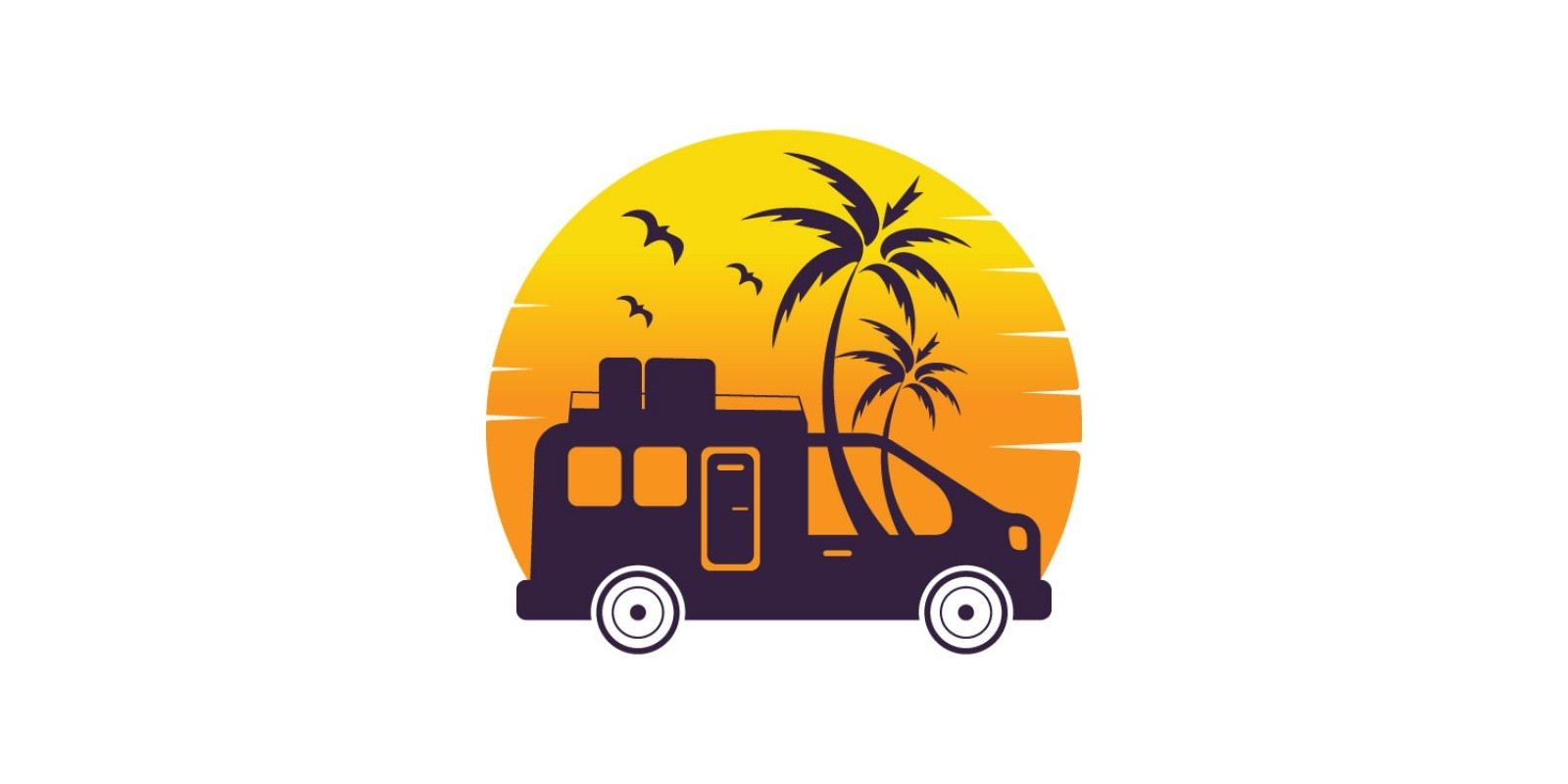 Camper And Palm Trees Logo