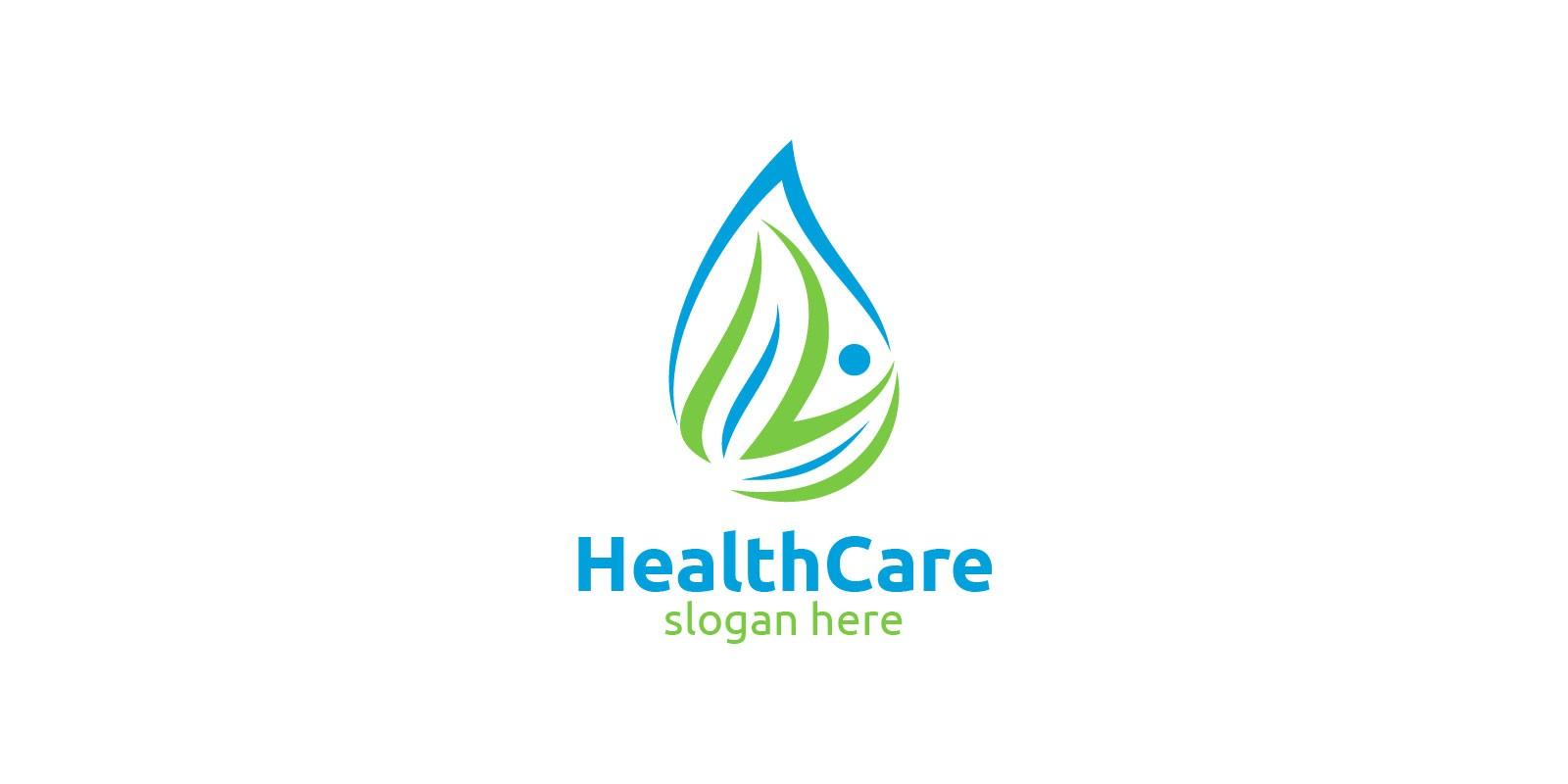 Water Drop Health Care Medical Logo Design
