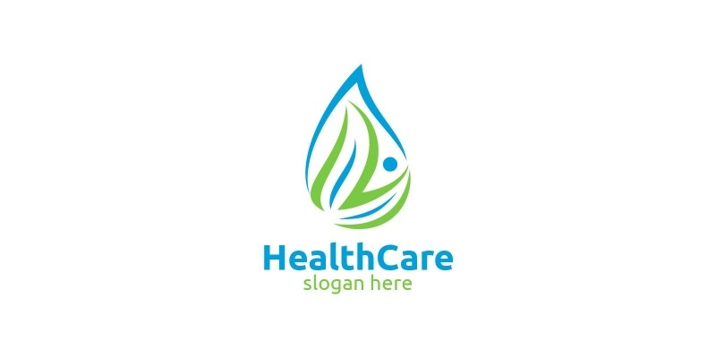 Water Drop Health Care Medical Logo Design