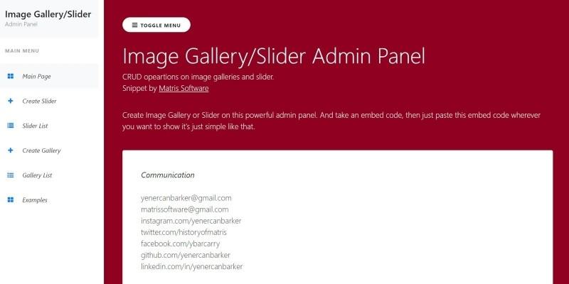 Slider Gallery Manager PHP Script