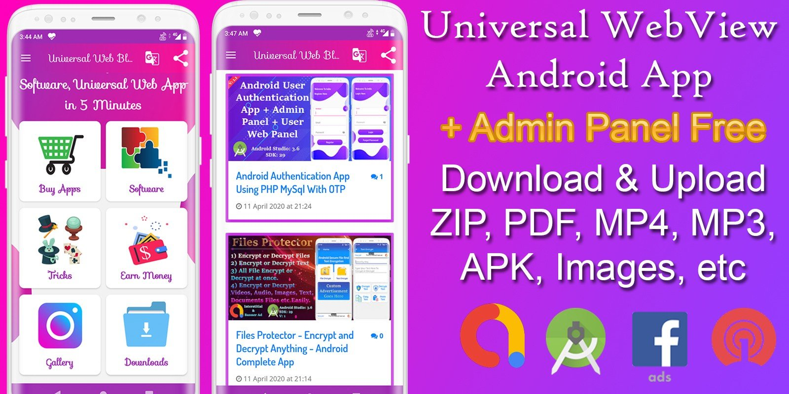 Universal WebView - 2 App Bundle With Admin Panel