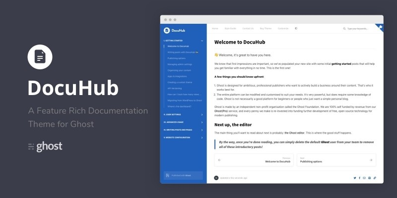 DocuHub - A Modern Documentation Theme For Ghost
