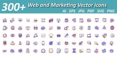 Web And Content Marketing Isolated Vector Icons
