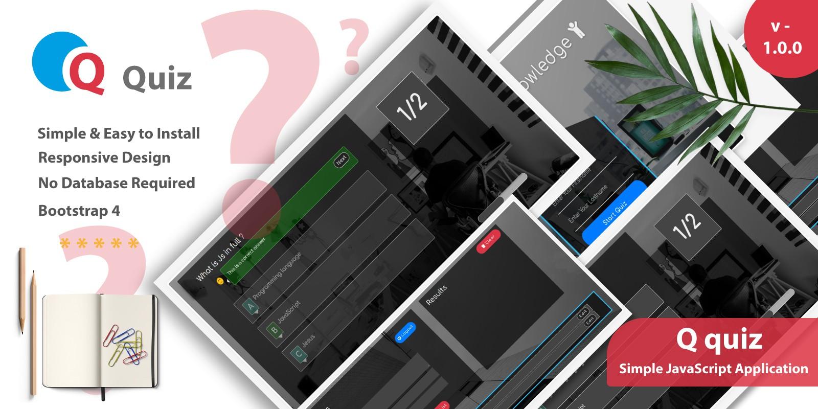 Q quiz - Simple JavaScript Quiz Application