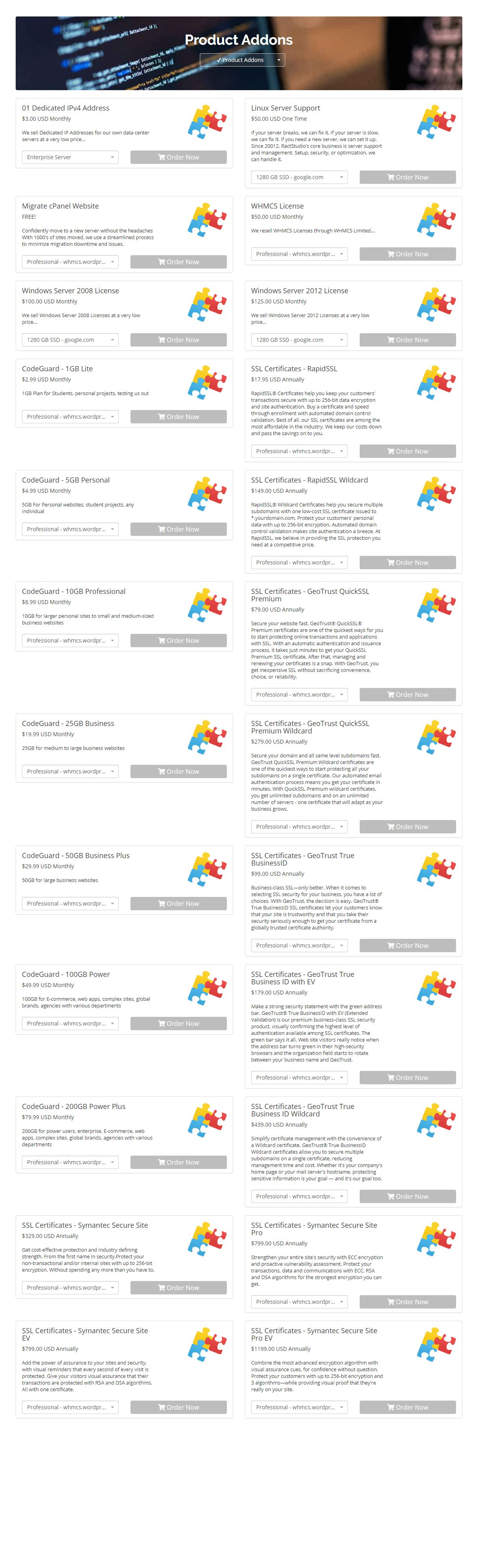 Modern Hosting Cart Whmcs Order Form Template By Ractstudio Codester