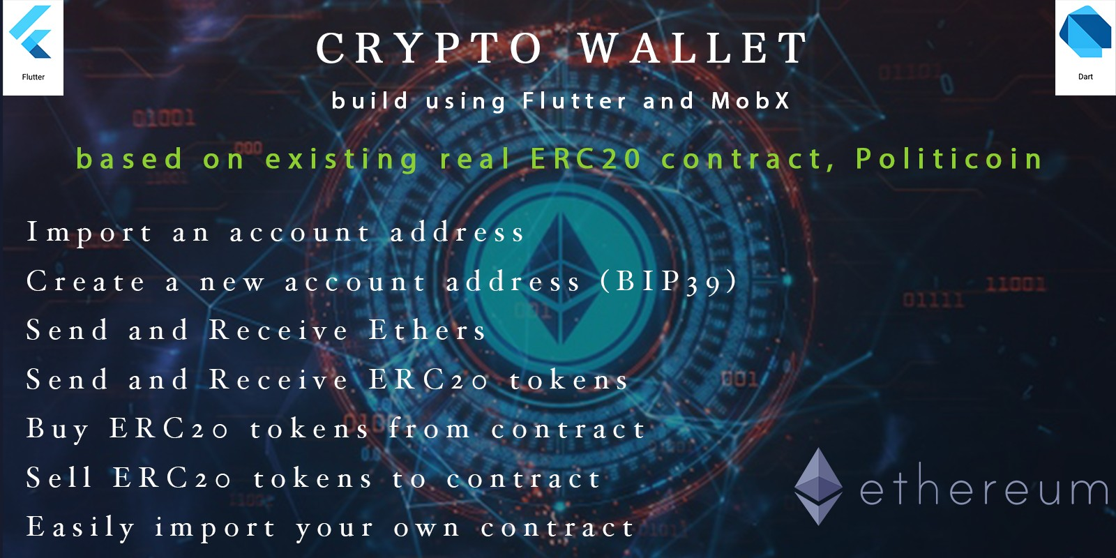 Crypto Wallet For Ethereum - Flutter App Template