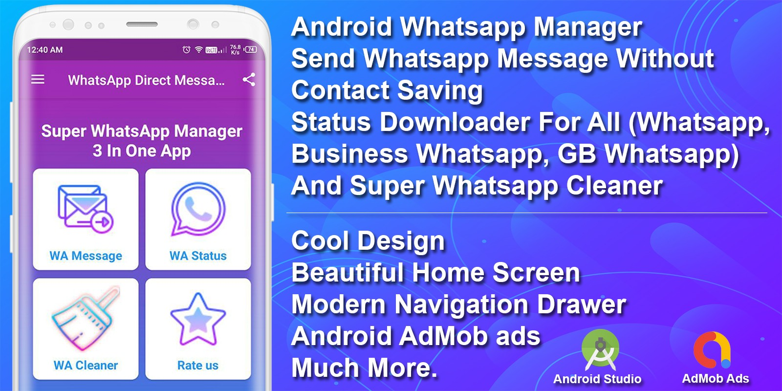 Whatsapp Manager Android App Source Code