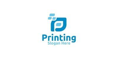 Letter P Printing Company Logo Design