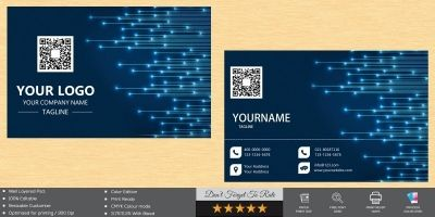 Blue Light Line Business Card Design Template