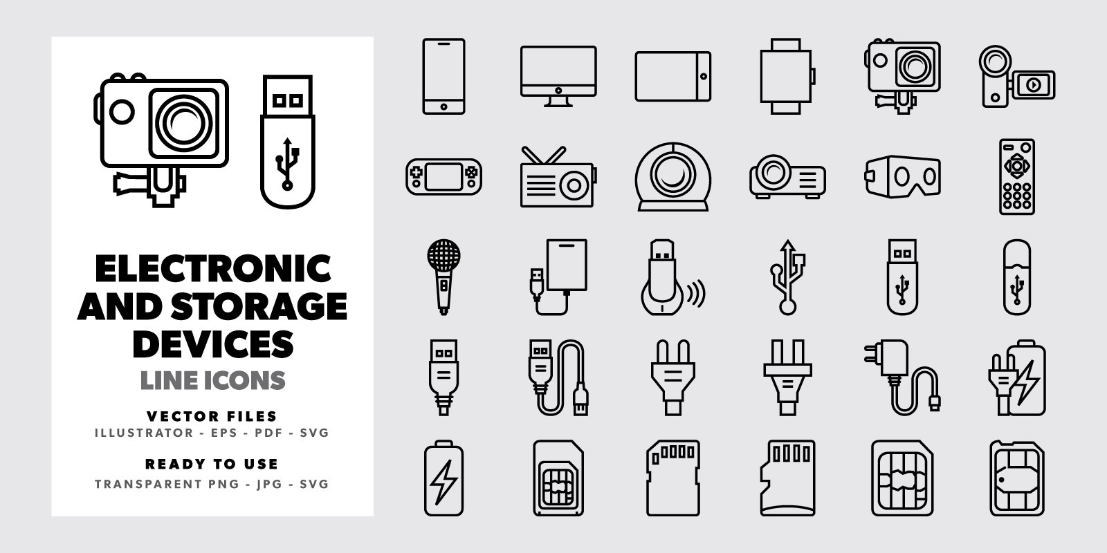 Electronic and Storage Devices - Line Icons