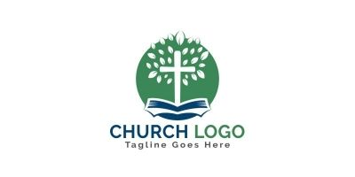 Bible Cross Tree Church Logo Design.