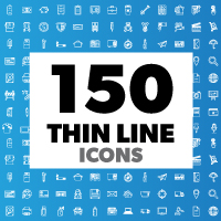 150 Thin Line Icons