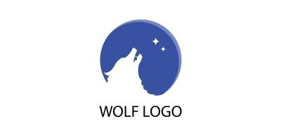 Wolf Moon Vector Logo