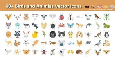 Animal Faces Vector Illustration icons