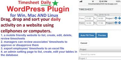 Daily Timesheet Management System WordPress Plugin