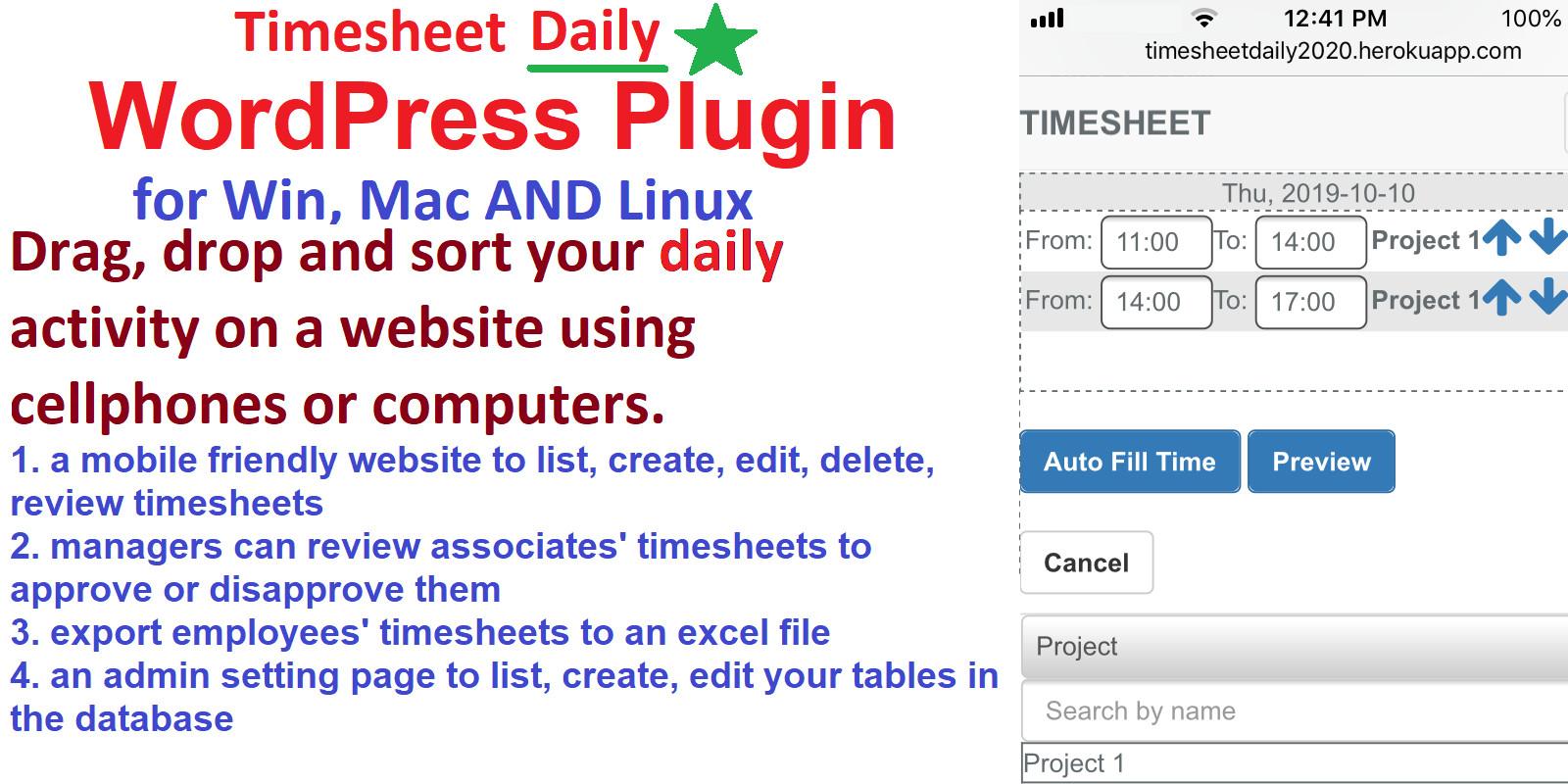 Daily Timesheet Management System WordPress Plugin