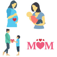Mother Day color Vector Icons pack