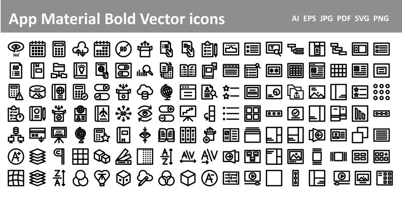 App Material Bold Vector Icons Pack
