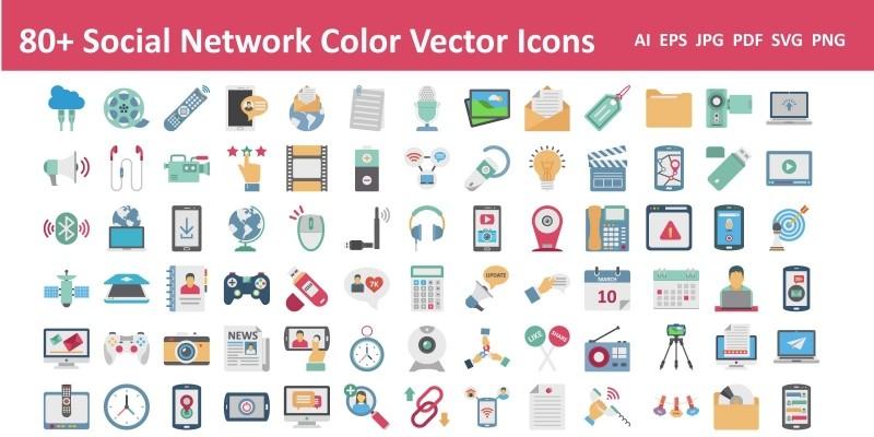 Social Network Color Vector Icon