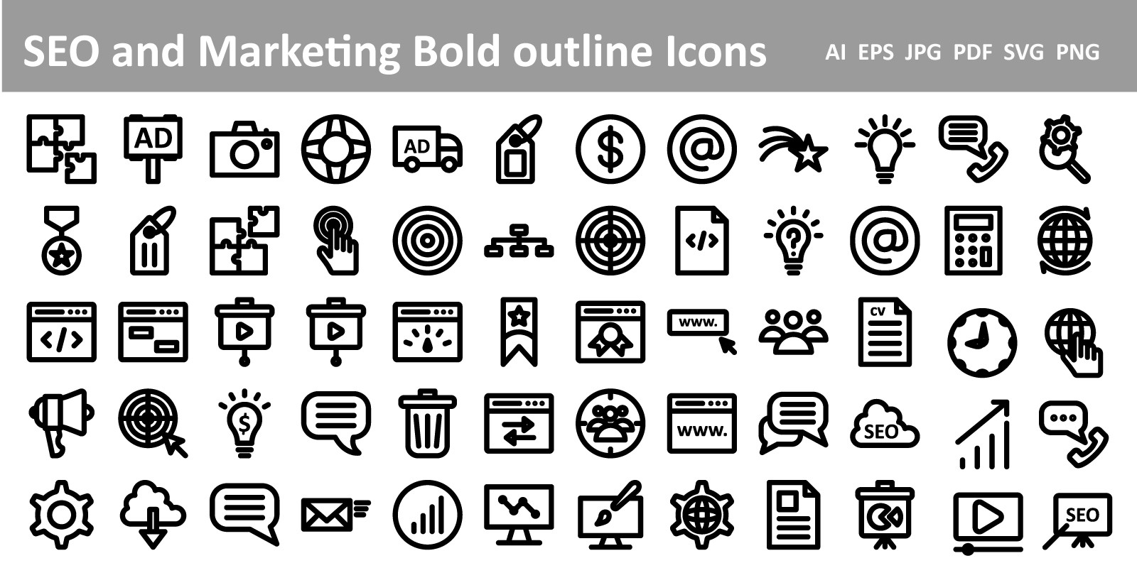 SEO And Marketing Bold Outline Icons