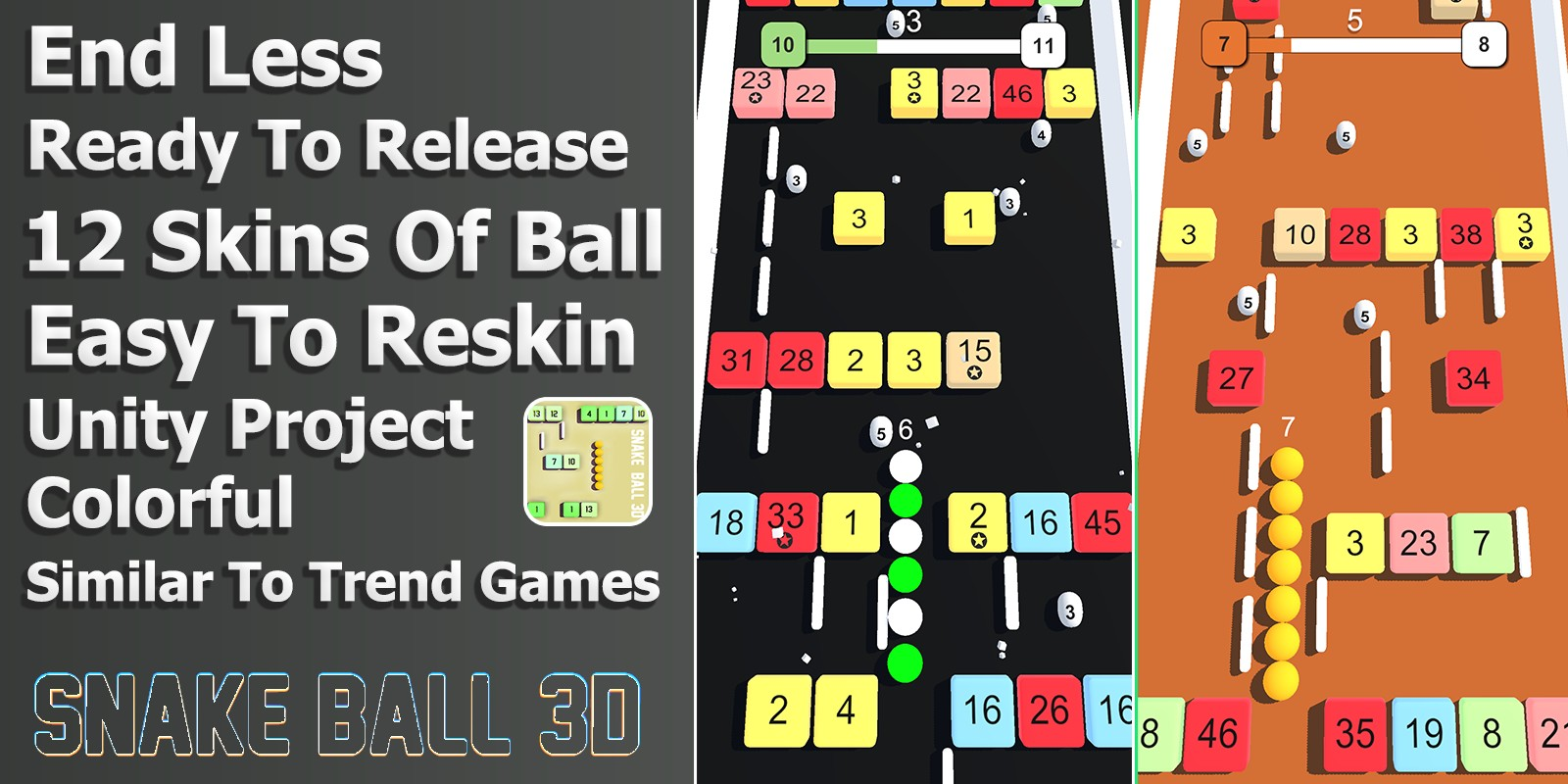 Snake Ball 3D - Unity Project for Android and iOS