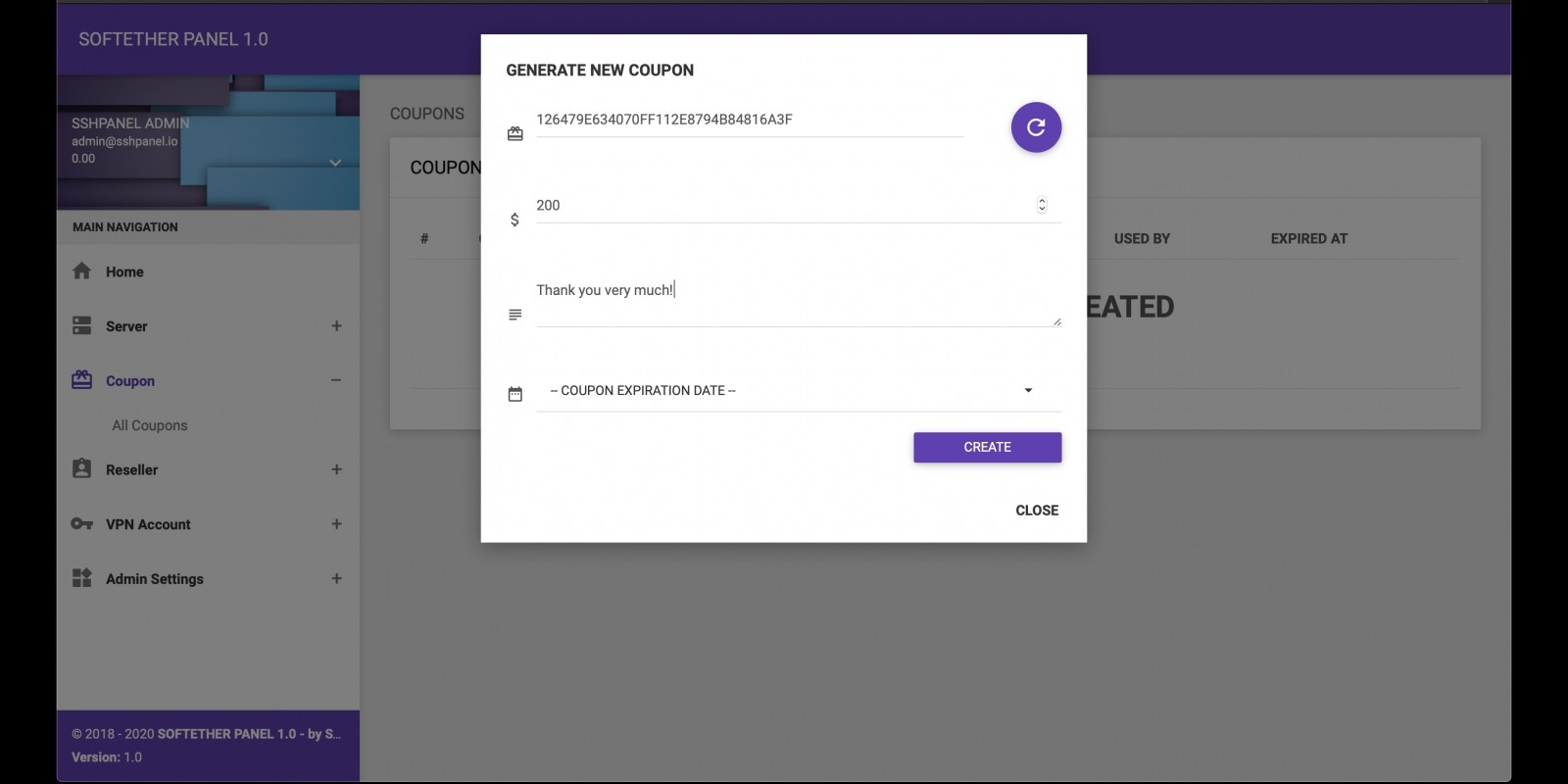 Coupon System Plugin For Softether VPN Panel