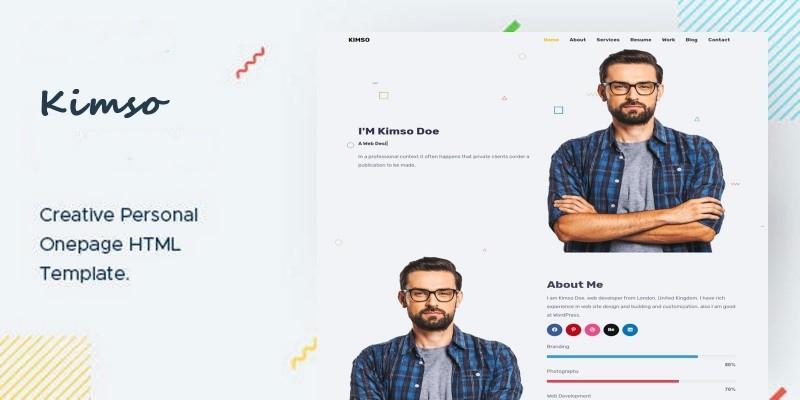 Kimso- Creative Personal Onepage HTML Template