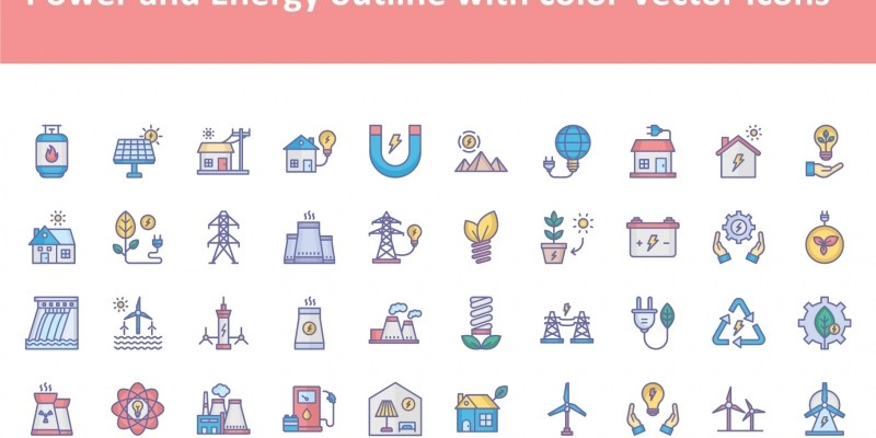 Power and Energy Line Icons