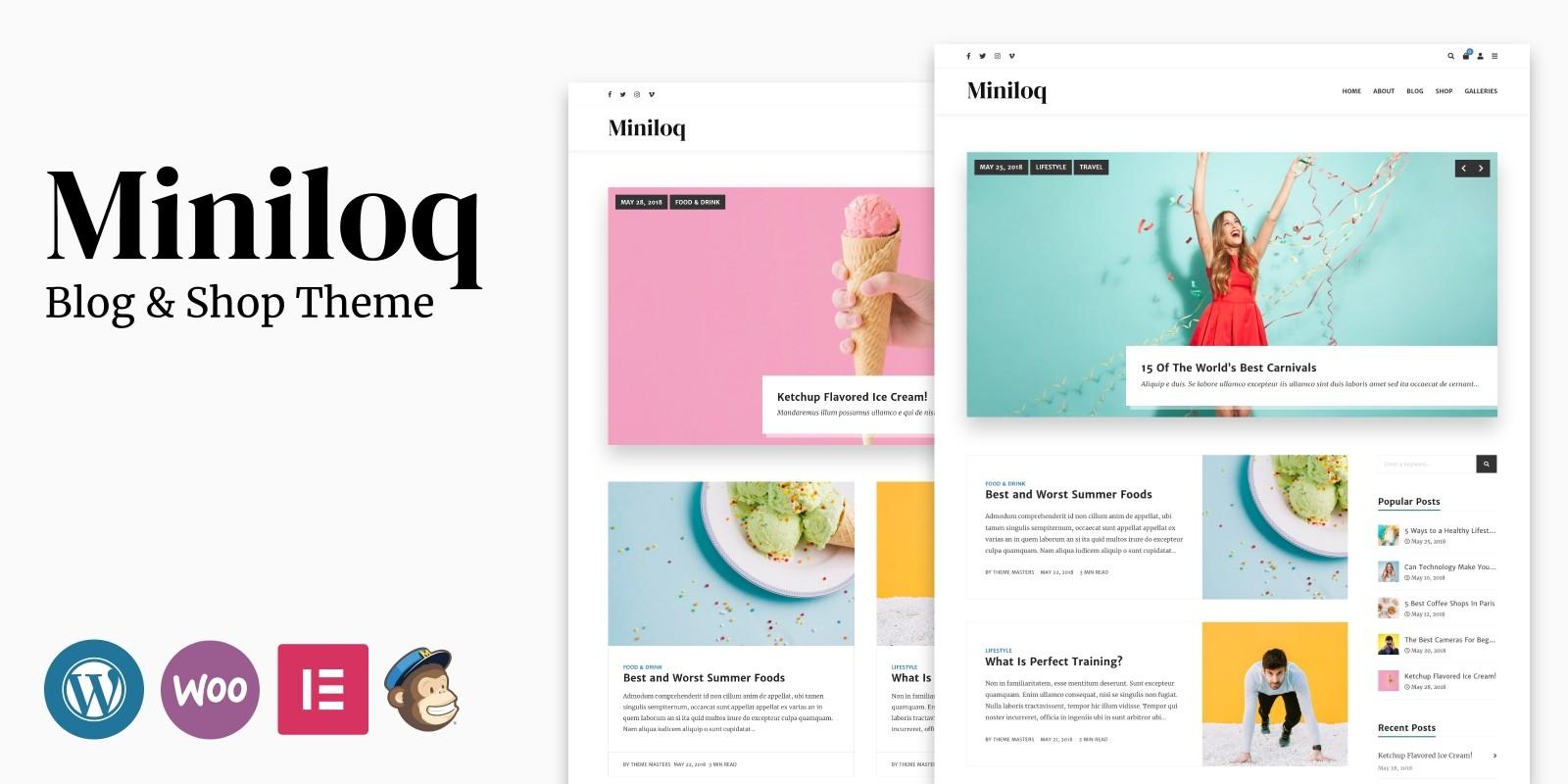Miniloq - WordPress Blog And Shop Theme