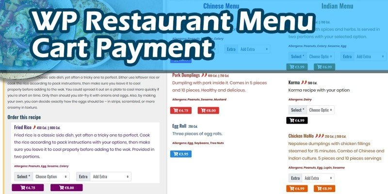 Restaurant Menu Cart Payment WordPress