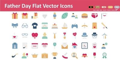 Father Day Vector Icons Set