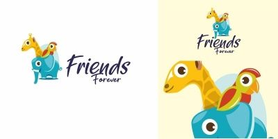 Cute Animal Friends Logo