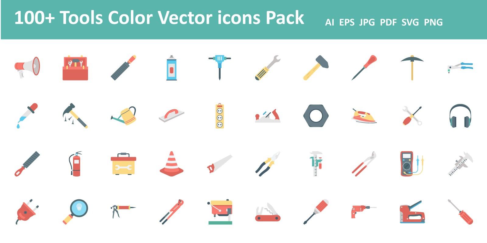 100 Tools Color Vector Icon