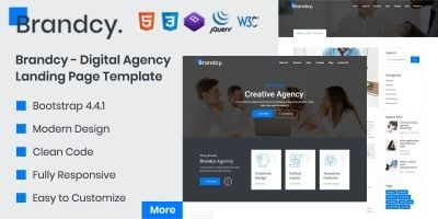 Brandcy - Digital Agency Landing Page Template