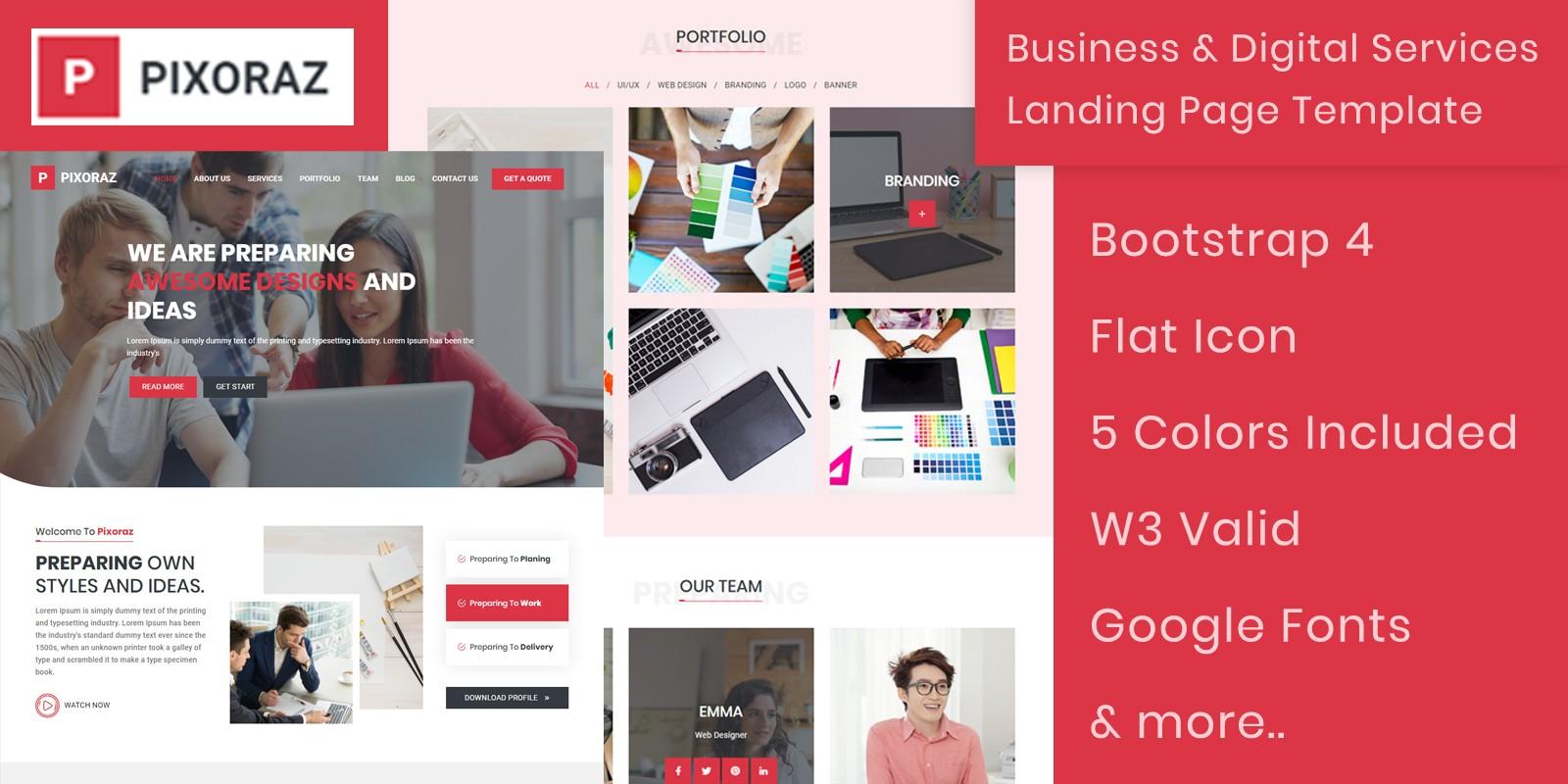 Pixoraz Landing Page