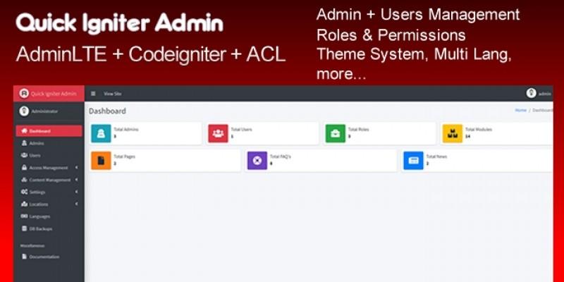 Quick Igniter Admin - CodeIgniter Admin Panel