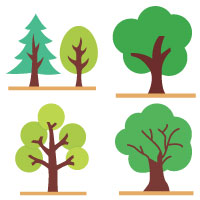 4 Style Of Nature Plant And Park Icons