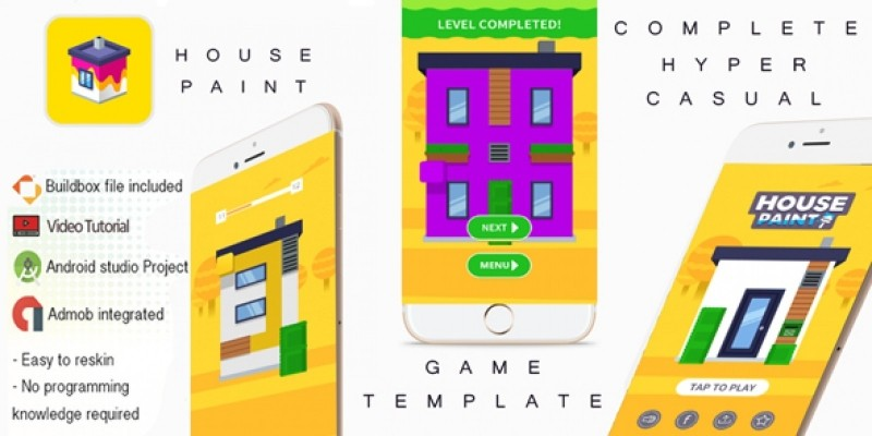 House Paint Buildbox 3 Template With Admob