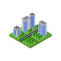 Isometric City Illustrated On White Background