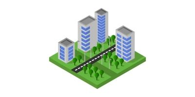 Isometric City Illustrated On White Background