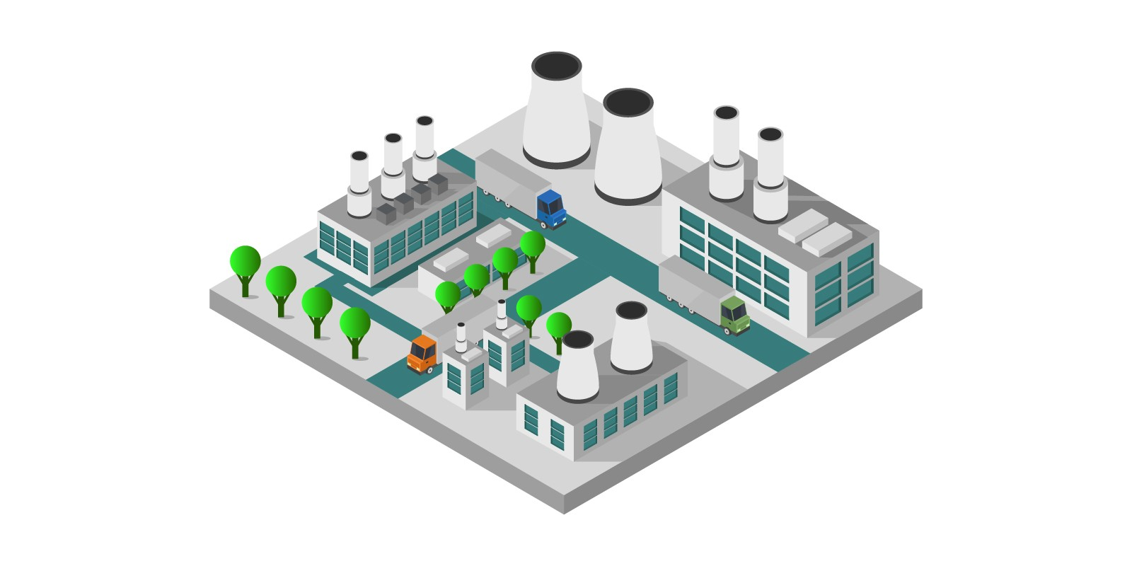 Isometric Industry Illustrated In Vector