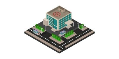 Isometric Hospital Illustrated In Vector